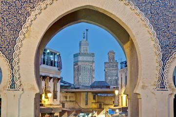 Foto op Canvas Marokko Bab Bou Jeloud gate at Fez, Morocco