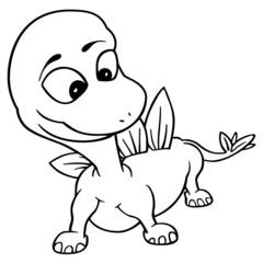 Little Dragon - Black and White Cartoon Illustration