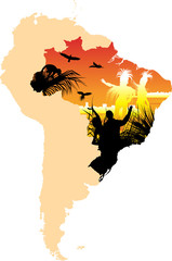 Map picture of South America whit aborigines