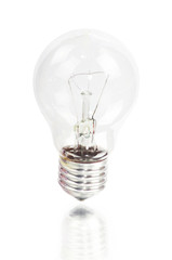 Normal Lightbulb with Reflection Isolated on White