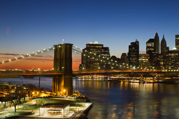 Brooklyn Bridge at Sunset in New York City