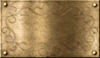 Wall Mural - grunge brass plate with floral pattern