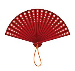 Red oriental fan with red diamonds