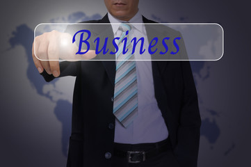 Hand of Business Man Pressing or Pushing Business button