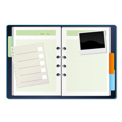 Notebook and a picture on a white background