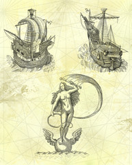 Aphrodite with sailboats illustration