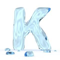Texteffekt Wasser Buchstabe K