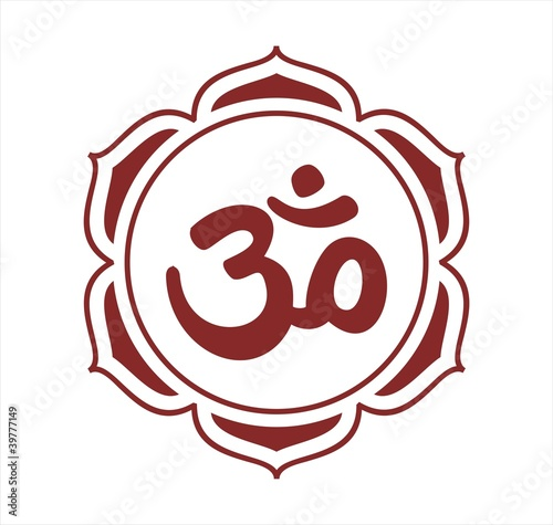 """Aum syllable, lotus, Hinduism, India"" fichier vectoriel ..."