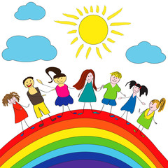 Spoed Fotobehang Regenboog Merry children and rainbow, happy life