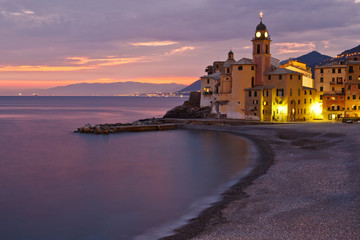 Fotomurales - Beautiful Sunset on the Pebble Beach in Camogli near Genoa, Ital