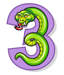 Colorful Number Three With Cartoon Snake
