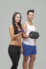Men and women exercise together