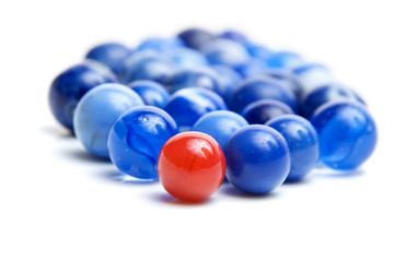 Red and blue vintage marbles