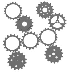 3d render of gear wheels