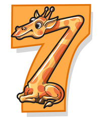 Colorful Number Seven With Cartoon Giraffe