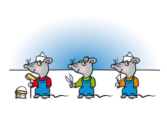 Mouse handyman cartoon