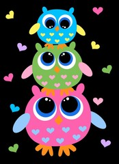 three colorful sweet owls