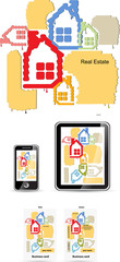 real estate style for device set and business card vector