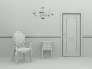 Modell Stuhl mit Tür und Kornleuchter