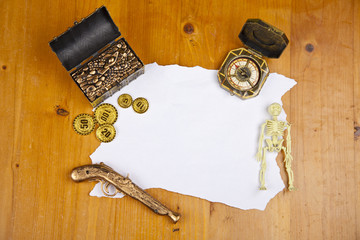 Pirate blank map with treasure, coins, skeleton and compass