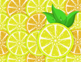 background of orange and lemon slices