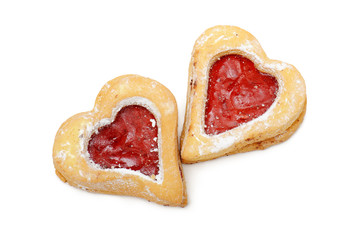 cookies heart-shaped with jam