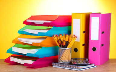 bright paper trays and stationery