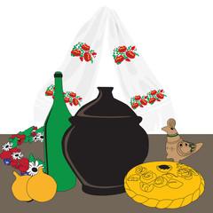 table with Ukrainian cuisine