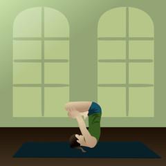 Young woman practicing yoga, Upward Lotus in room