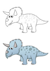 comic dinosaurier, triceratops, coloriert und outlines