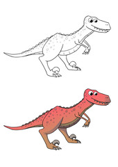 comic dinosaurier, raptor, coloriert und outlines