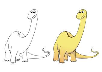 comic dinosaurier, brontosaurus, coloriert und outlines