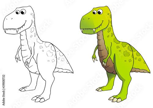 Comic Dinosaurier Tyrannosaurus Rex Coloriert Und Outlines