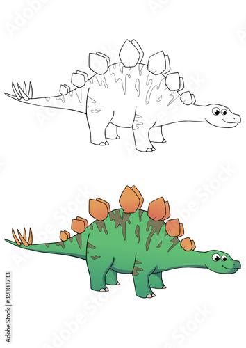 Comic Dinosaurier Stegosaurus Coloriert Und Outlines Stockfotos