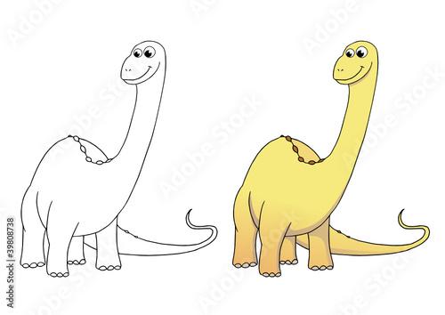 Comic Dinosaurier Brontosaurus Coloriert Und Outlines Stockfotos
