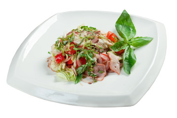 Healthy vegetarian Salad with beef language