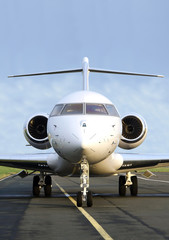 Private Jet Plane front view - Bombardier