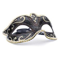 One black masquerade mask on white