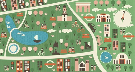 Spoed Fotobehang Op straat cartoon map of hyde park london