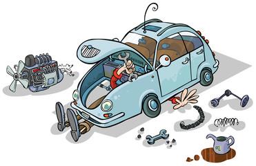 Cartoon Illustration of a Car Repairs.