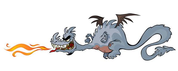 Cartoon Fiery Dragon.