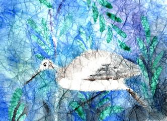 Watercolor heron on dark blue