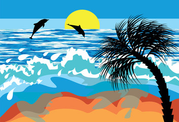 Wall Murals Birds, bees seascape with dolphins and palm