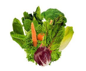 bouquet of healthy vegetables on a white background