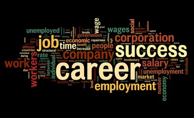 Career concept in word tag cloud on black