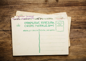 Antique russian post card stack