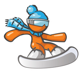Orange Man Snow Boarding