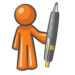 ORange Man wiht Big Pen