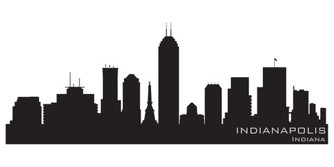 Wall Mural - Indianapolis, Indiana skyline. Detailed vector silhouette