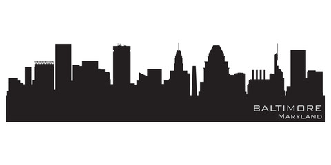 Fototapete - Baltimore, Maryland skyline. Detailed vector silhouette